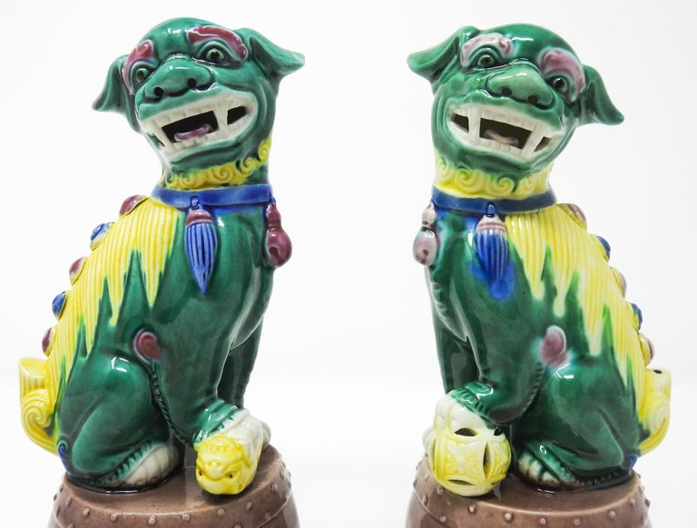 Fired Ceramic Chinese Guardian Foo Dogs For Sale