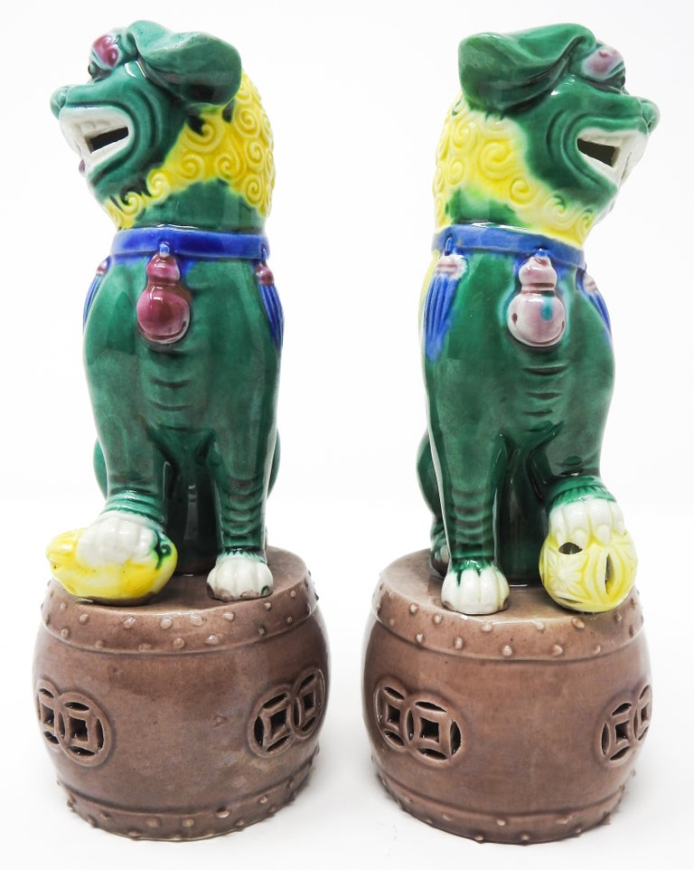 Ceramic Chinese Guardian Foo Dogs In Good Condition For Sale In Cookeville, TN