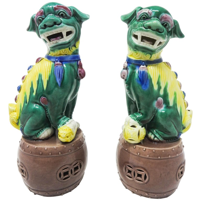 Ceramic Chinese Guardian Foo Dogs For Sale