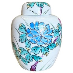 Ceramic Chinoiserie Chinese Ginger Jar with Lid and Floral Motif