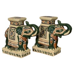 Ceramic Chinoiserie Elephant Garden Stool Bookends, a Pair