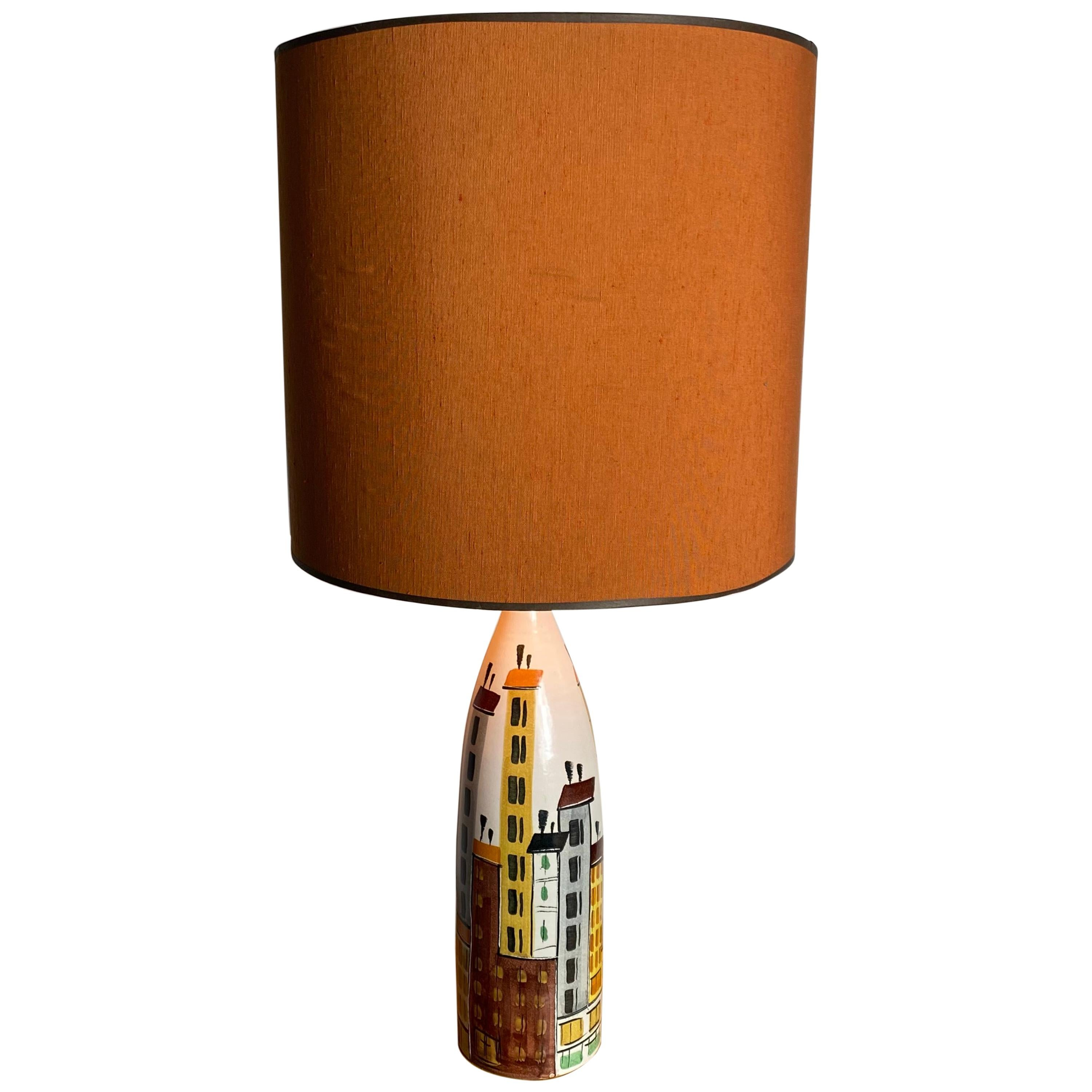"""Ceramic """"Cityscape"""" Table Lamp by Bitossi, Modernist, Italy"""