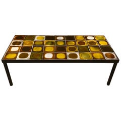 "Ceramic Coffee Table ""Planètes"" by Roger Capron, France, 1960s"