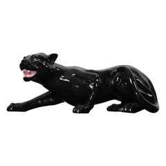 Ceramic Creeping Black Panther, 1970s