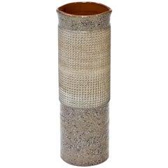 Ceramic Cylindrical Floor Vase by Thomas Hellström for Nittssjö, Sweden, 1960s