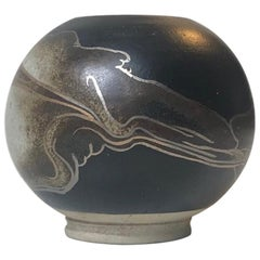 Ceramic Danish Ball Vase with Abstract Decor by Peter Sylsvest, 1970s