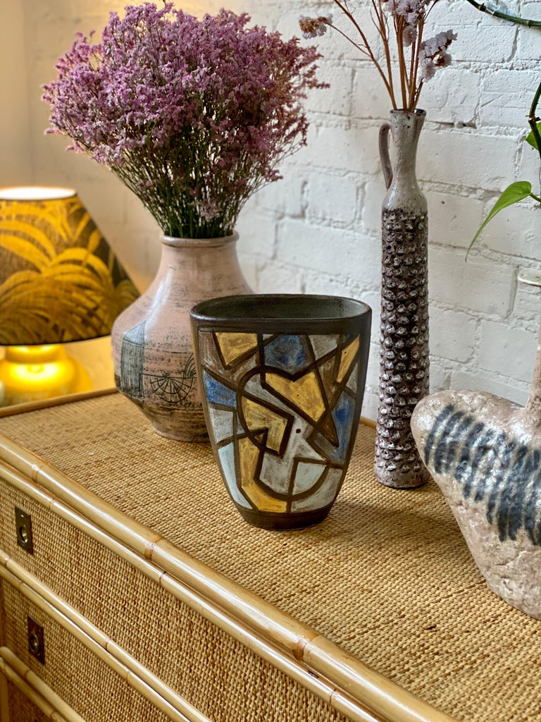 Mid-Century Modern Ceramic Decorative Vase by Alexandre Kostanda, circa 1960s For Sale