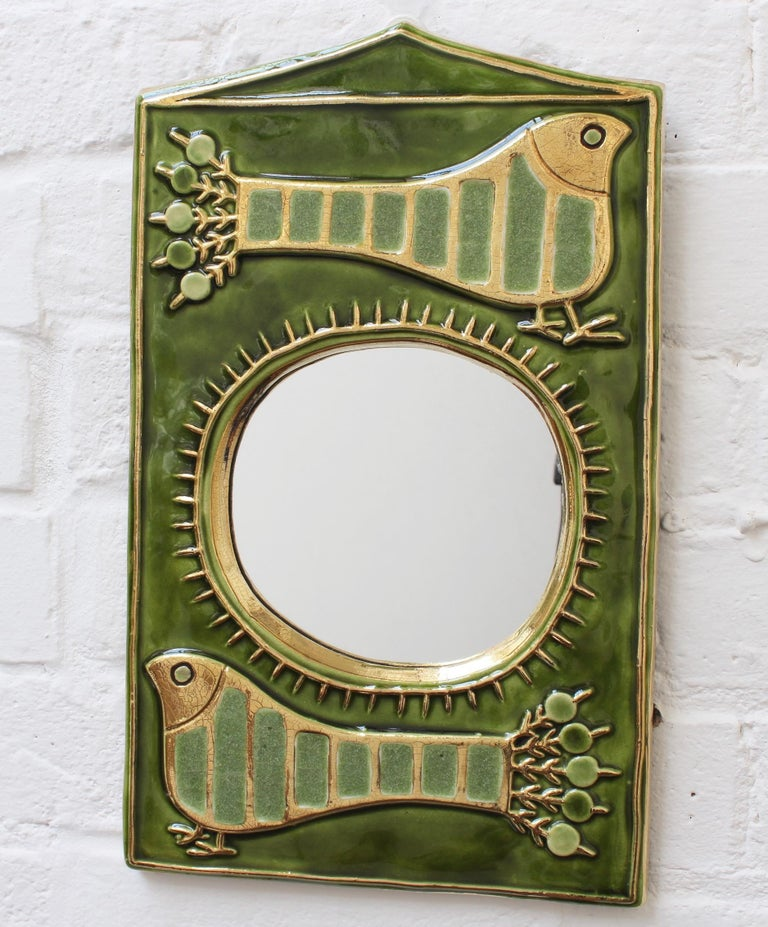 Ceramic Decorative Wall Mirror by François Lembo, 'circa 1970s' For Sale 4