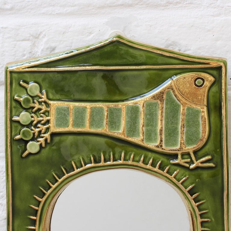 Ceramic Decorative Wall Mirror by François Lembo, 'circa 1970s' For Sale 5