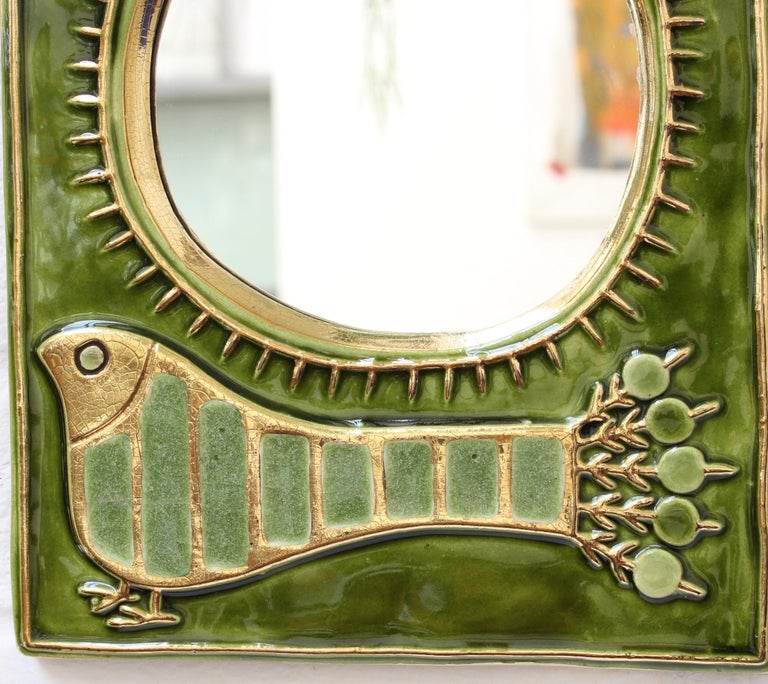 Ceramic Decorative Wall Mirror by François Lembo, 'circa 1970s' For Sale 6