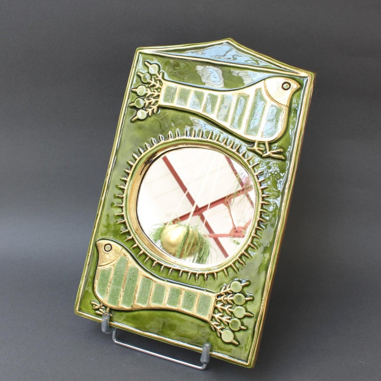 Mid-Century Modern Ceramic Decorative Wall Mirror by François Lembo, 'circa 1970s' For Sale