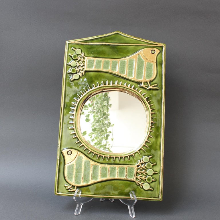 Ceramic Decorative Wall Mirror by François Lembo, 'circa 1970s' In Excellent Condition For Sale In London, GB