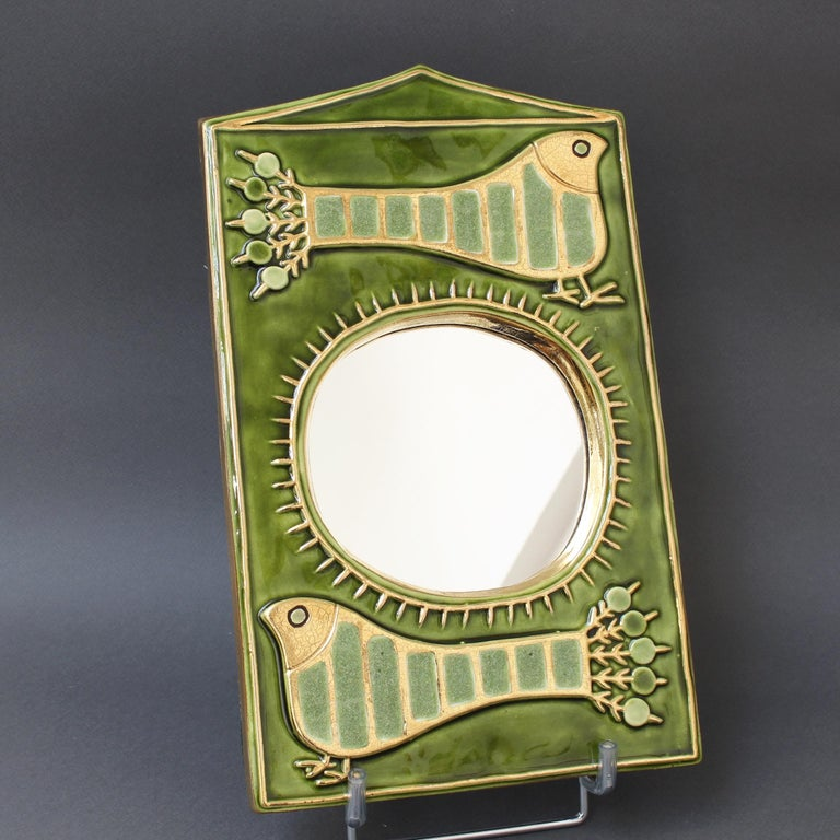 Late 20th Century Ceramic Decorative Wall Mirror by François Lembo, 'circa 1970s' For Sale