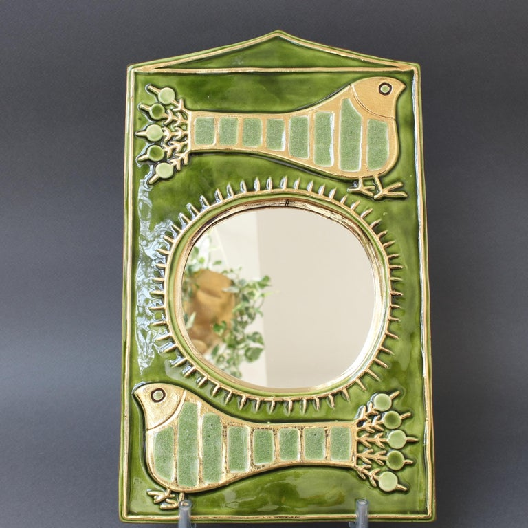 Ceramic Decorative Wall Mirror by François Lembo, 'circa 1970s' For Sale 1