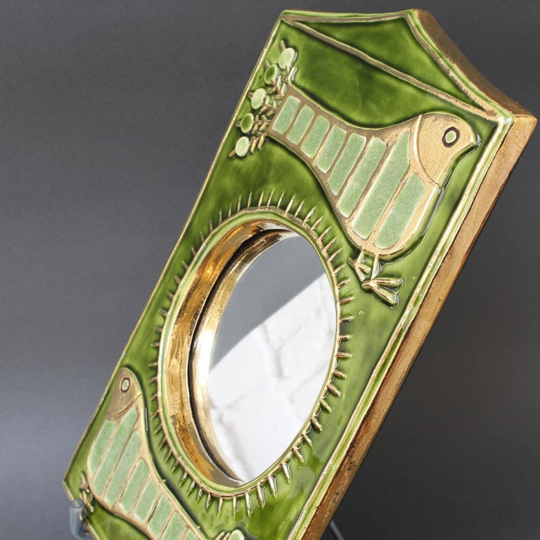 Ceramic Decorative Wall Mirror by François Lembo, 'circa 1970s' For Sale 2