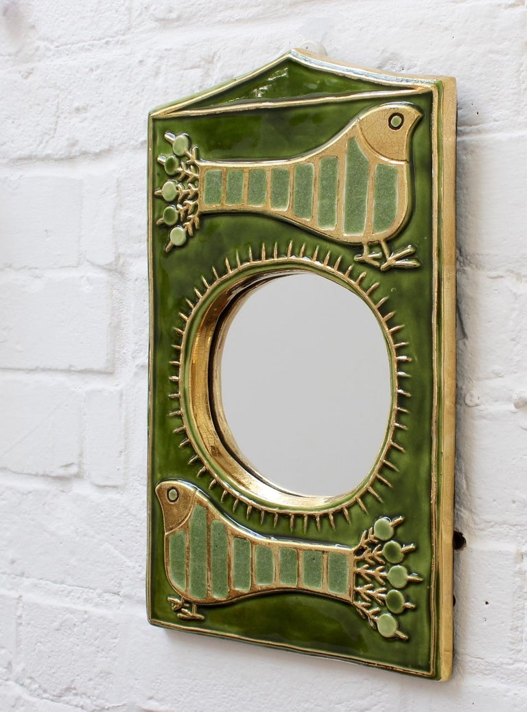 Ceramic Decorative Wall Mirror by François Lembo, 'circa 1970s' For Sale 3