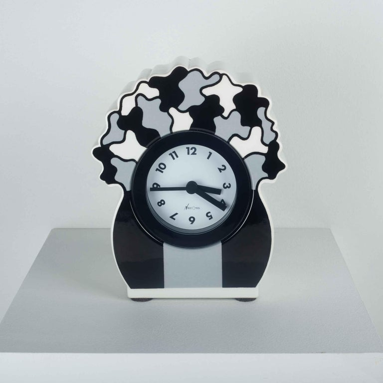Post-Modern Ceramic Desk Clock by George Sowden for Neos, Italy, 1980s For Sale
