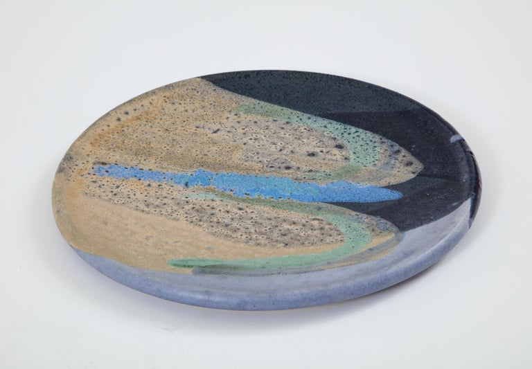 Mid-Century Modern Ceramic Dish with Abstract Enamel Glaze For Sale