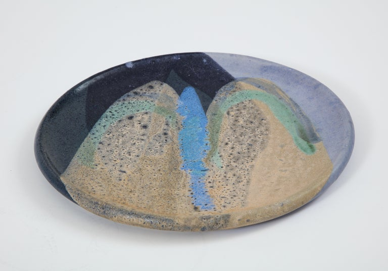 Ceramic Dish with Abstract Enamel Glaze In Good Condition For Sale In Brooklyn, NY