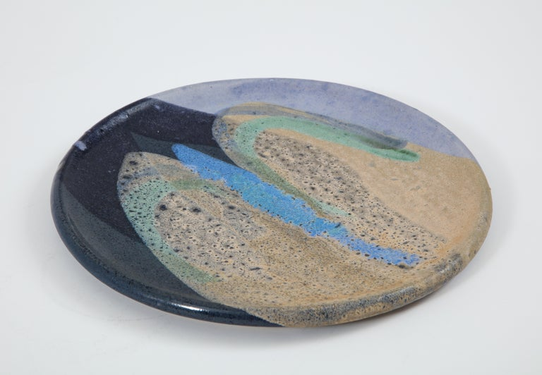 Ceramic Dish with Abstract Enamel Glaze For Sale 1