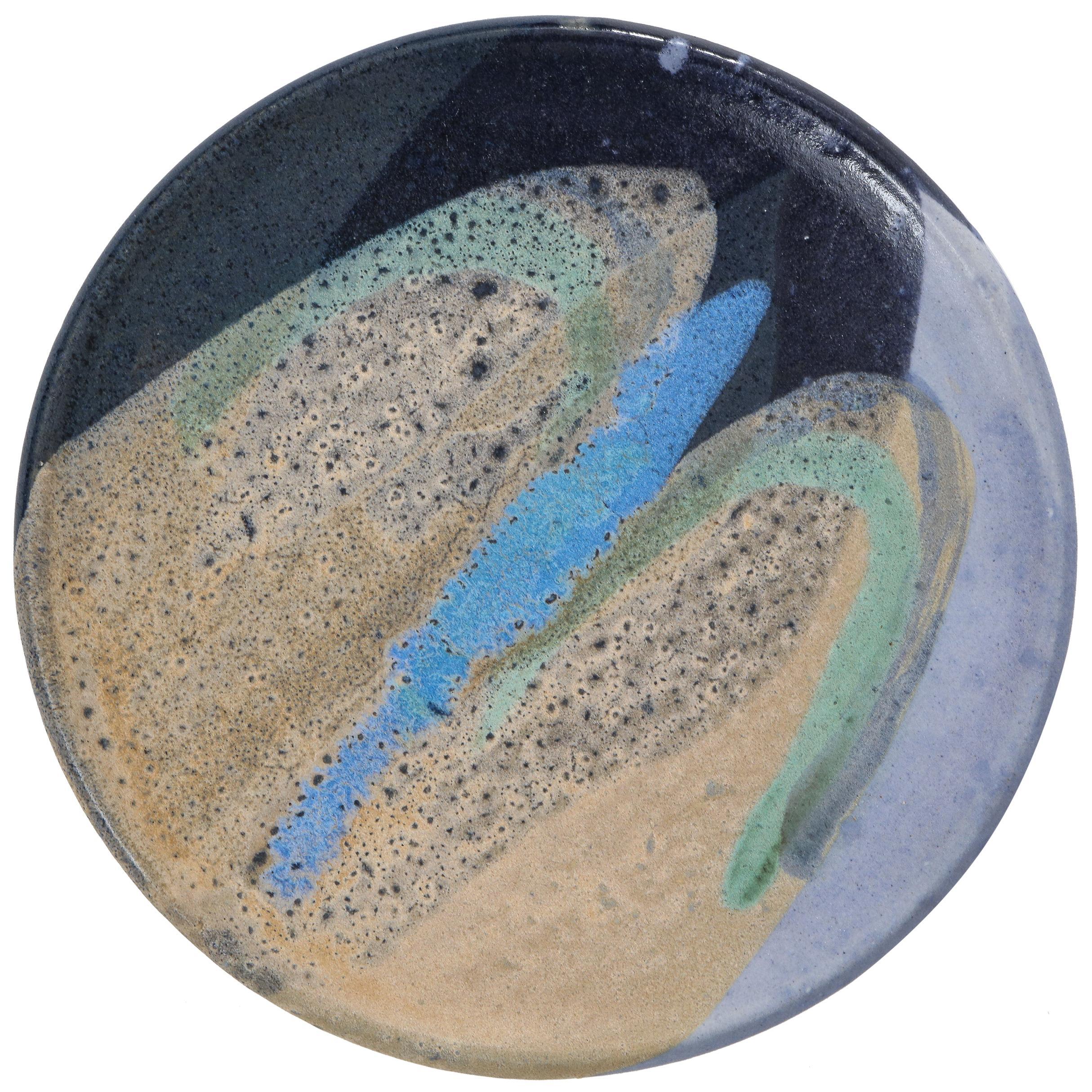 Ceramic Dish with Abstract Enamel Glaze