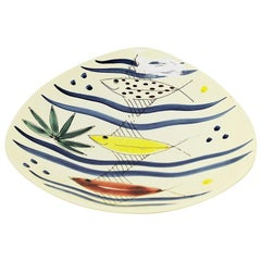 Ceramic Dish with Fish Motives by Inger Waage, Stavangerflint Norway, 1950s