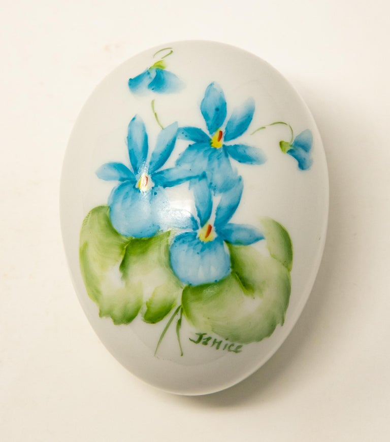 Arts and Crafts Ceramic Eggs with Floral Motif For Sale