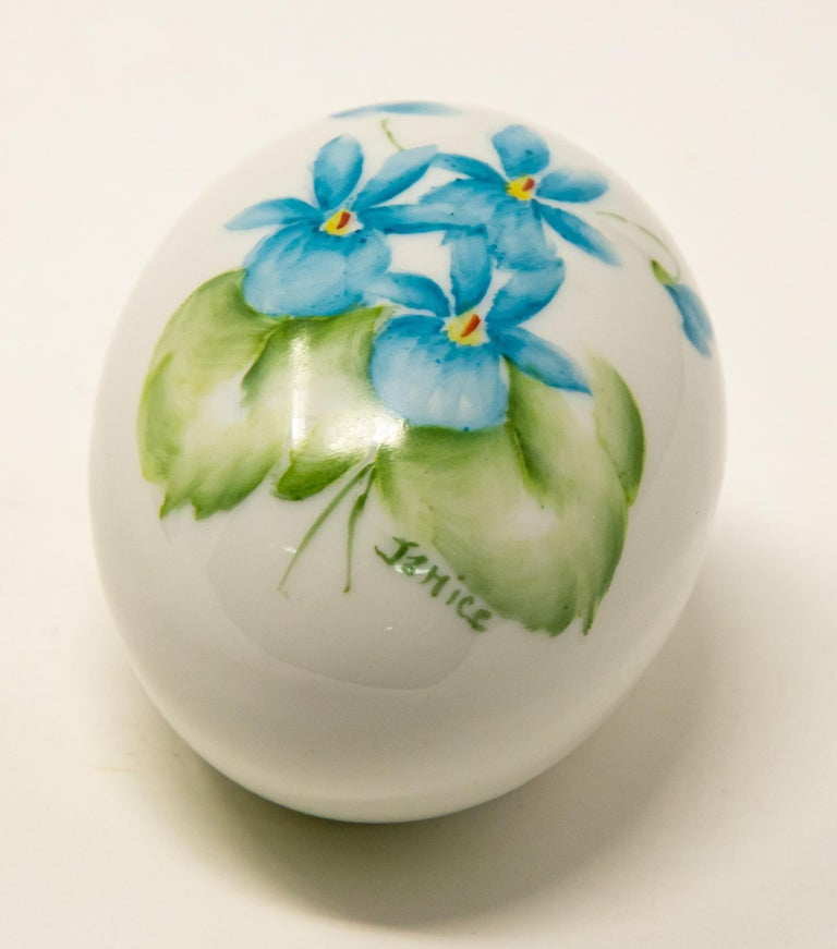 American Ceramic Eggs with Floral Motif For Sale