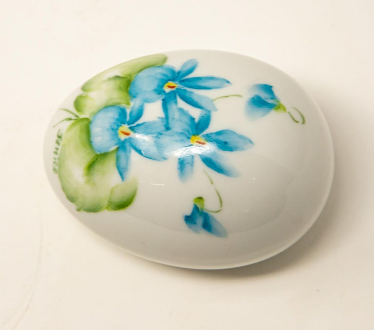 Fired Ceramic Eggs with Floral Motif For Sale