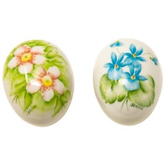 Ceramic Eggs with Floral Motif