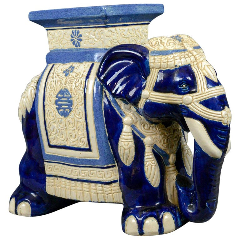 Ceramic Elephant Plant Stand, Garden Companion Table, Mid-Late 20th Century For Sale