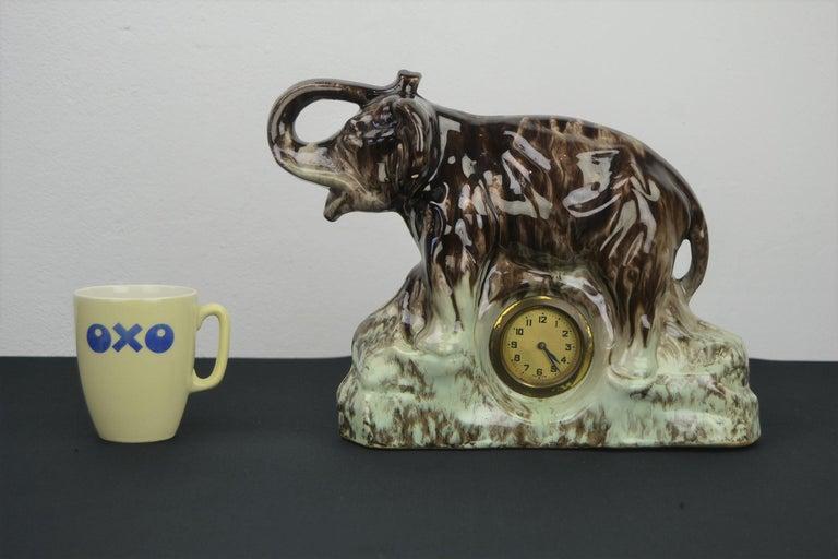 Ceramic Elephant with Clock, Belgium, 1950s For Sale 11