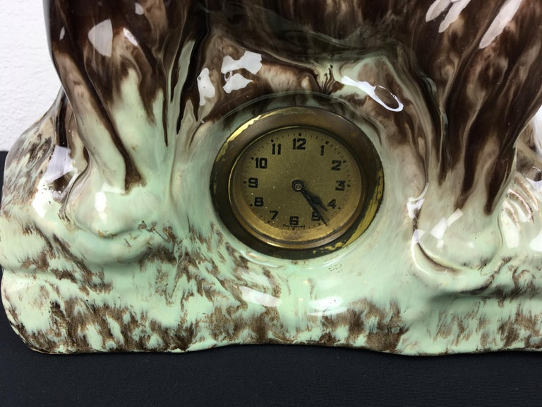 Belgian Ceramic Elephant with Clock, Belgium, 1950s For Sale