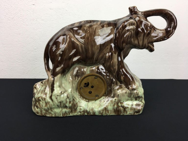 Ceramic Elephant with Clock, Belgium, 1950s For Sale 4