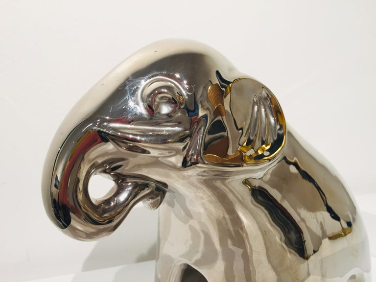 Ceramic Elephant with Mirror Finish For Sale 3