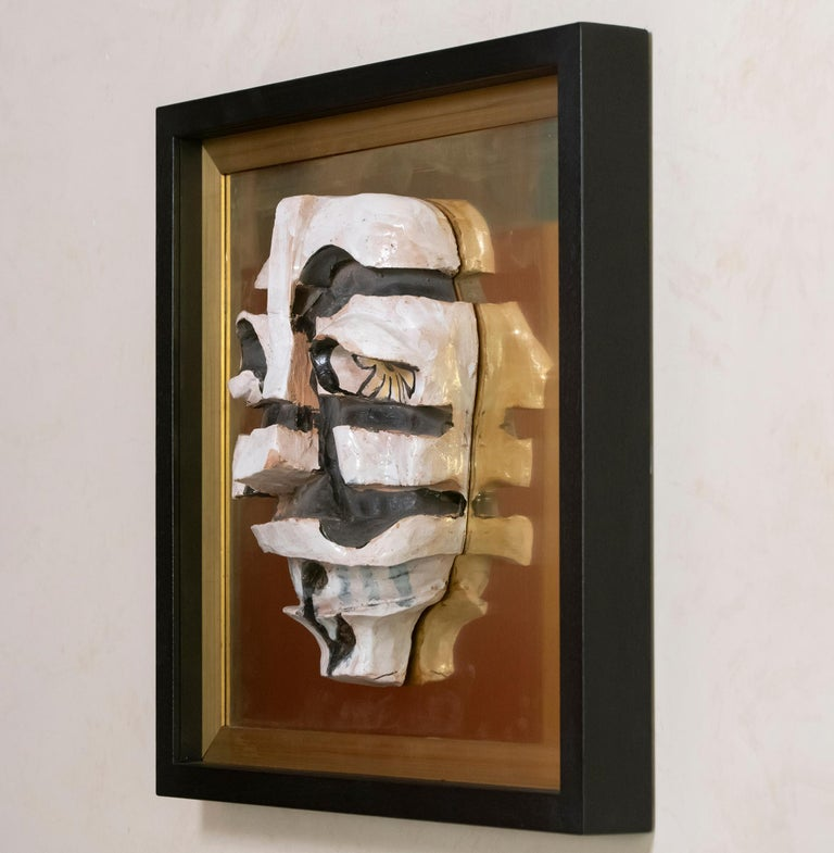 Italian Ceramic Figurative Wall Art on Natural Brass and Wood Frame, Italy, 1970s For Sale