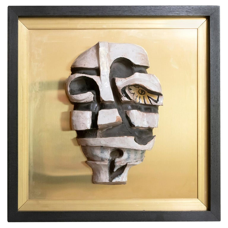 Ceramic Figurative Wall Art on Natural Brass and Wood Frame, Italy, 1970s For Sale