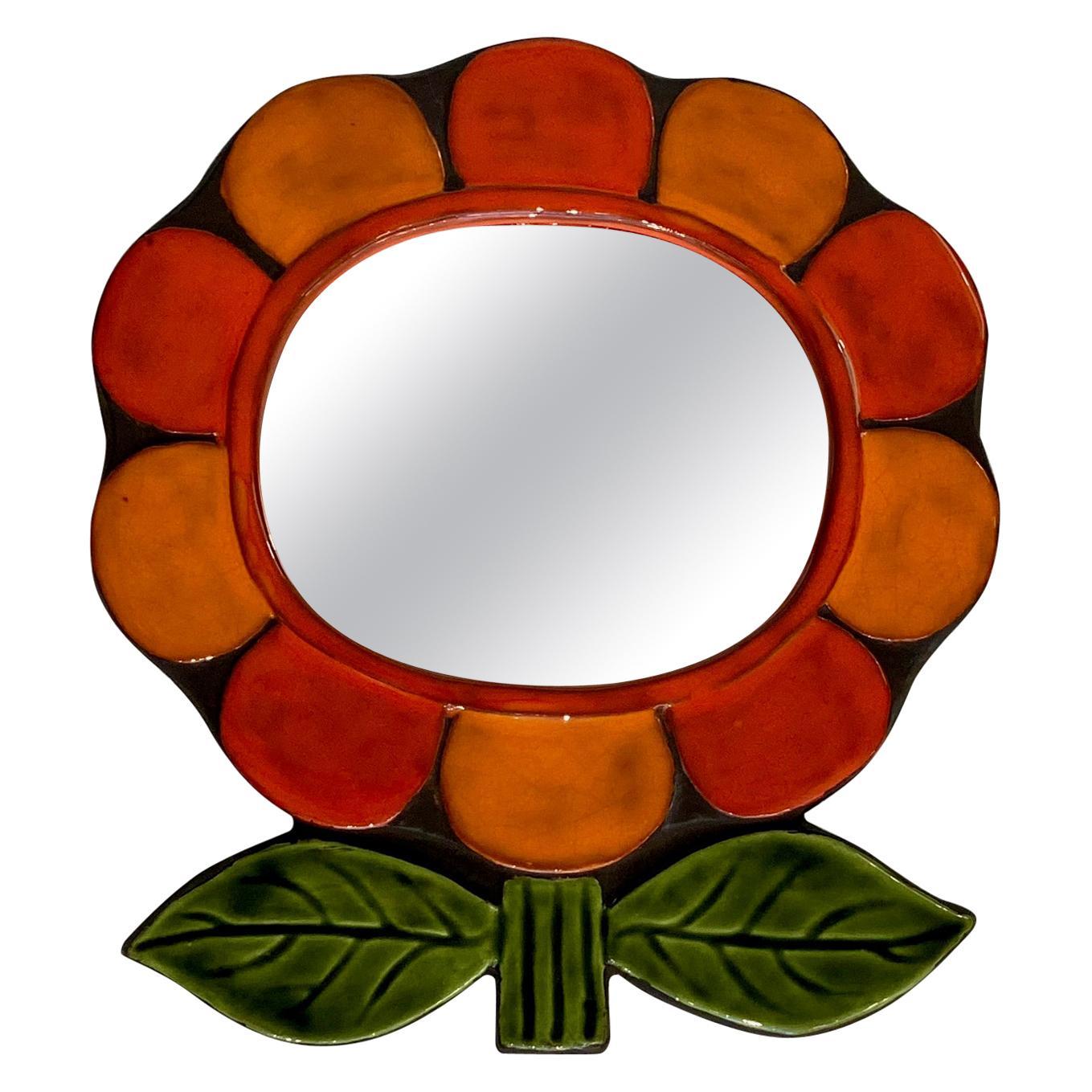 """Ceramic """"Flower"""" Mirror by Mithé Espelt"""