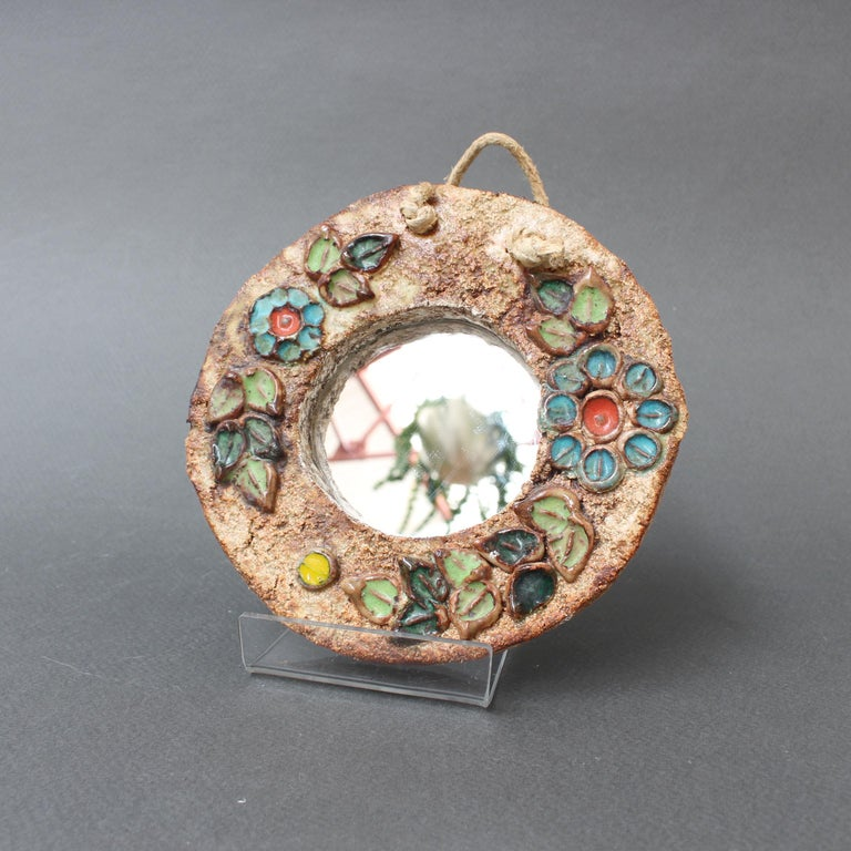Mid-Century Modern Ceramic Flower Motif Wall Mirror by La Roue, Vallauris 'circa 1960s', Small For Sale