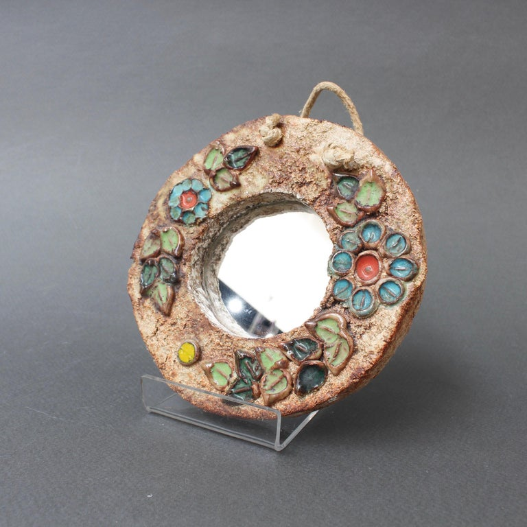 French Ceramic Flower Motif Wall Mirror by La Roue, Vallauris 'circa 1960s', Small For Sale