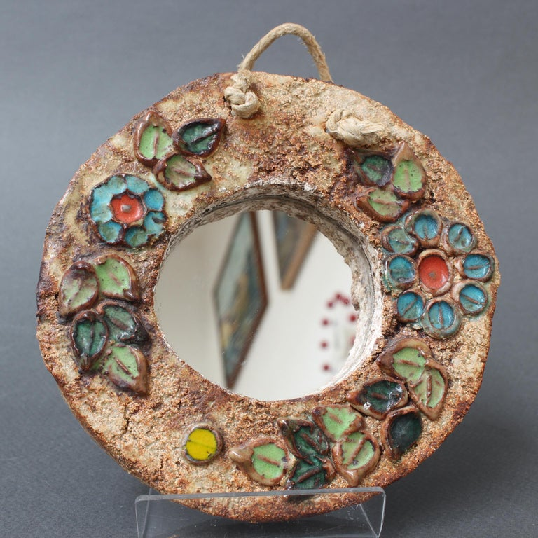 Ceramic Flower Motif Wall Mirror by La Roue, Vallauris 'circa 1960s', Small For Sale 1