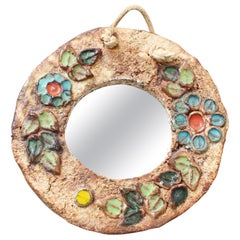Ceramic Flower Motif Wall Mirror by La Roue, Vallauris 'circa 1960s', Small