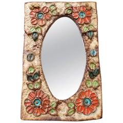 Ceramic Flower-Motif Wall Mirror by La Roue, Vallauris, France, circa 1960s