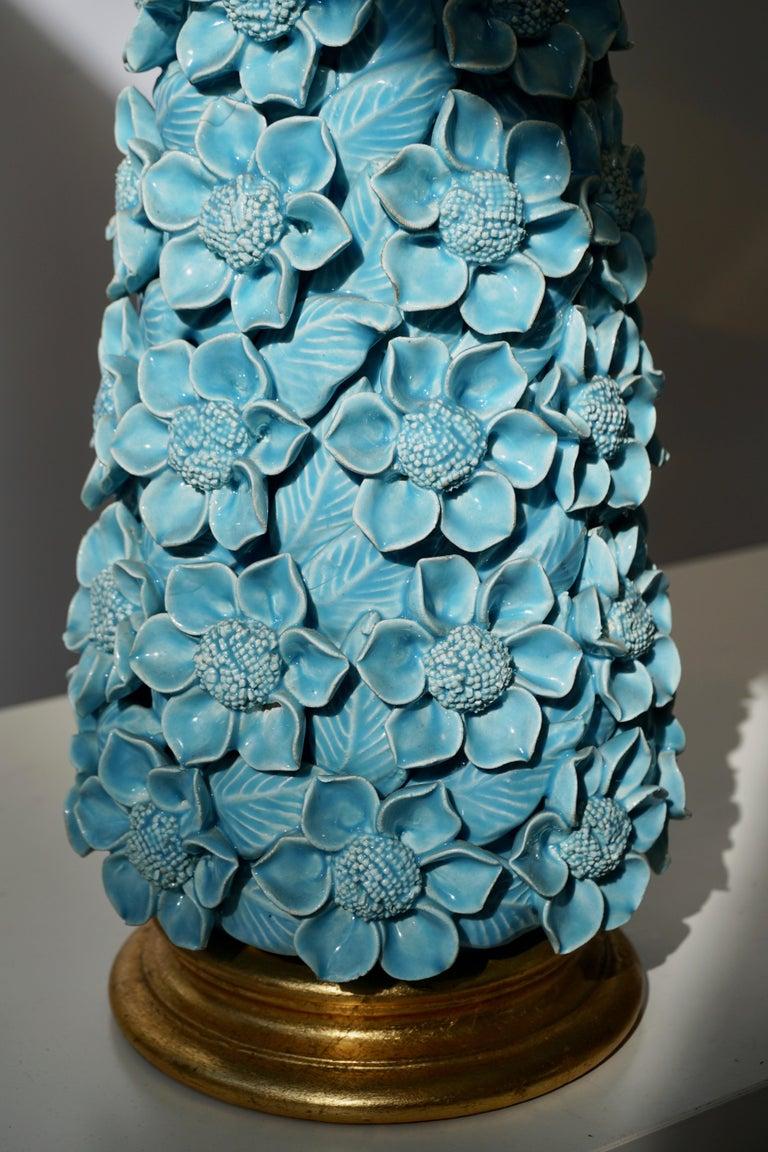 Italian Ceramic Flower Table Lamp in Blue Color, 1950s For Sale