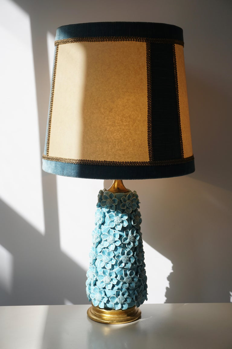 20th Century Ceramic Flower Table Lamp in Blue Color, 1950s For Sale