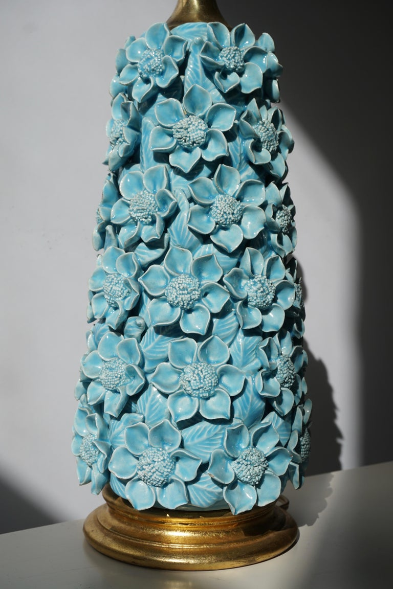 Ceramic Flower Table Lamp in Blue Color, 1950s For Sale 2