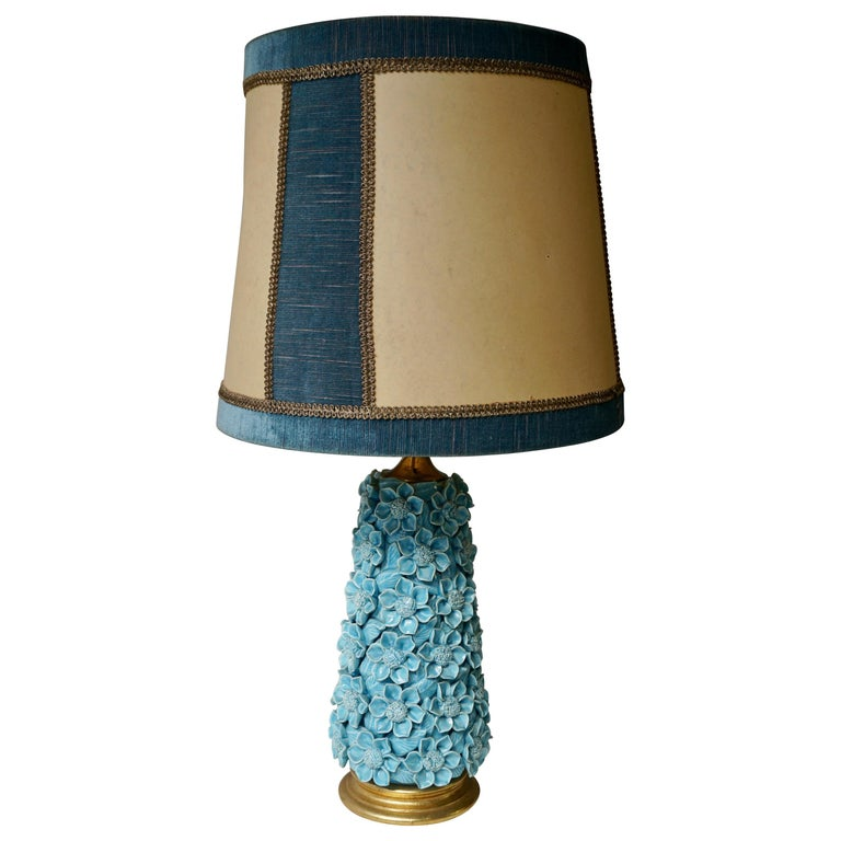 Ceramic Flower Table Lamp in Blue Color, 1950s For Sale