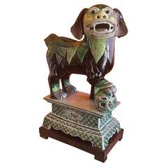Ceramic Foo Dog Sculpture on Mahogany Base