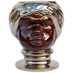 Keramische Fornasetti Stil Moro Kopf Vase, Ende des 20. Jahrhunderts, Italien