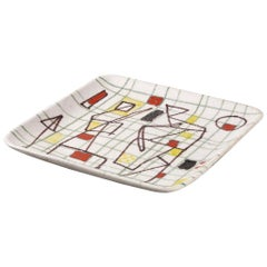 Ceramic Freeform Plate by Guido Gambone Abstract Hand Painted Decor